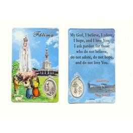 Fatima Prayer Card with medal